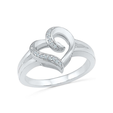 Charming Heart Everyday Diamond Silver Ring