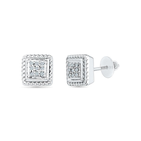 Square Eleganza Diamond Stud Earrings in 92.5 Sterling Silver for women online
