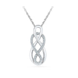 |Silver Attractive Pendant with Prong Set Round  Diamonds