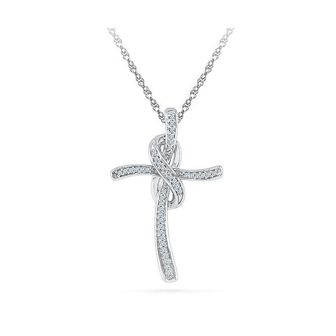 Silver Cross Pendant with Clusters of Prong Set Round Diamonds