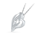 Couple Heart Diamond Silver Pendant