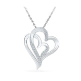 Silver Fancy Real Diamond  pendant in Prong Setting