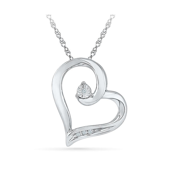 Silver Heart Pendant with Nick and Miracle Set Diamonds