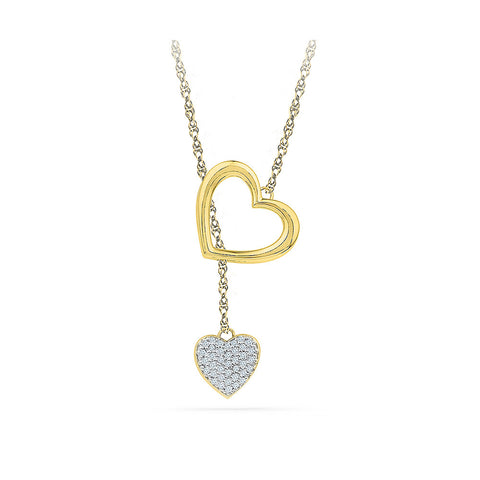 14k and 18k Gold Dual Diamond Heart Lariat in Prong setting online for women