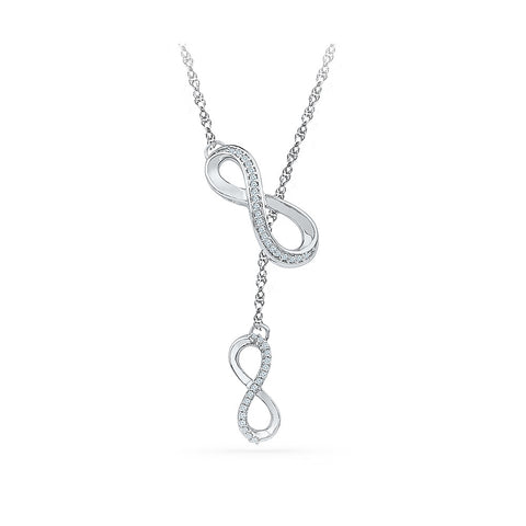 14k and 18k Gold Dual Infinity Diamond Necklace Pendant in Prong setting online for women