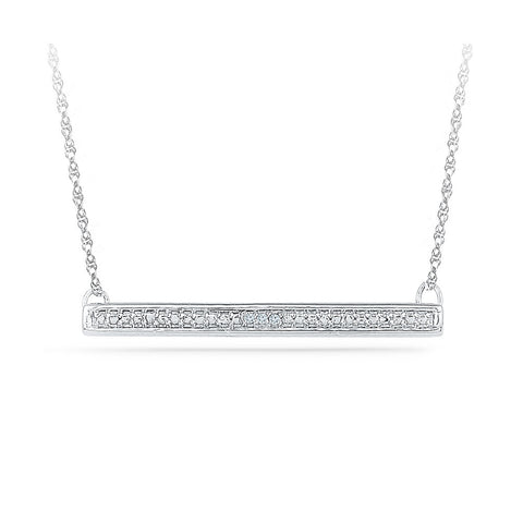 14k and 18k Gold Studded Bar Diamond Pendant in Prong setting online for women