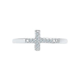 Cross Charms Diamond Midi Silver Ring