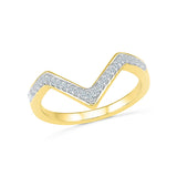 The Chevron Diamond Midi Ring