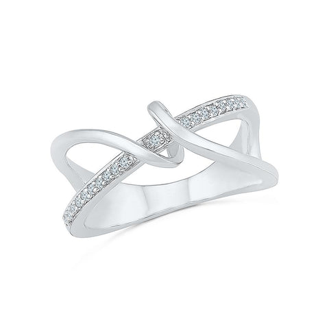 Silver Cocktail Ring with Prong Set Diamonds