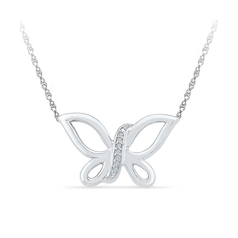 14k and 18k Gold Fancy Butterfly Diamond Necklace in PRONG setting online for women