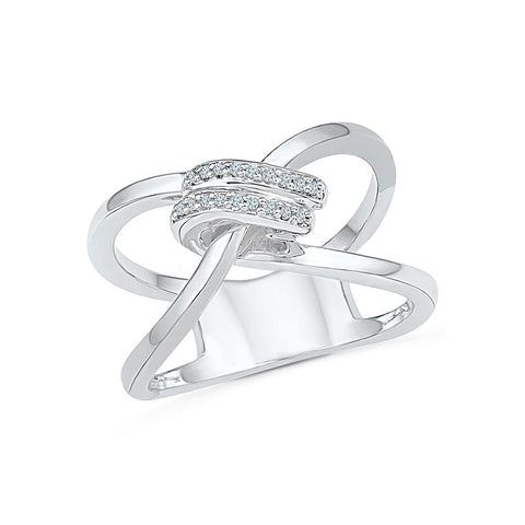 Celtic Knot Diamond Cocktail Silver Ring