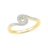 14kt /18kt white and yellow gold Swirl Spring Diamond Midi Ring in PRONG setting for women online