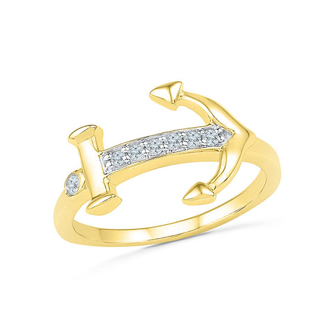 14kt / 18kt white and yellow gold Anchor Adorns Diamond Midi Ring in Prong setting online for women