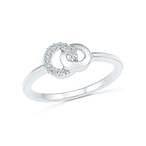 Interlinked Diamond Midi Silver Ring for women