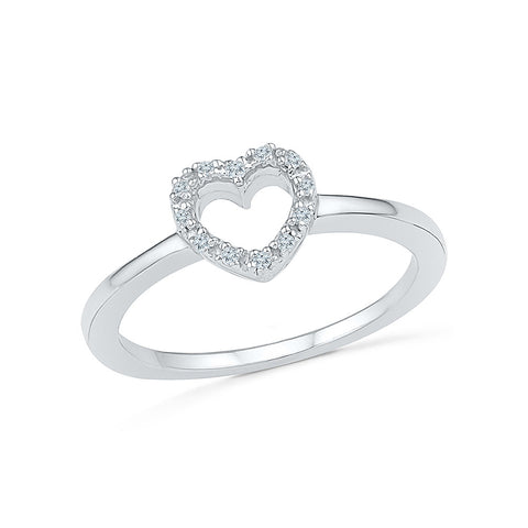 14kt /18kt white and yellow gold Micro Heart Diamond Midi Ring in PRONG setting for women online