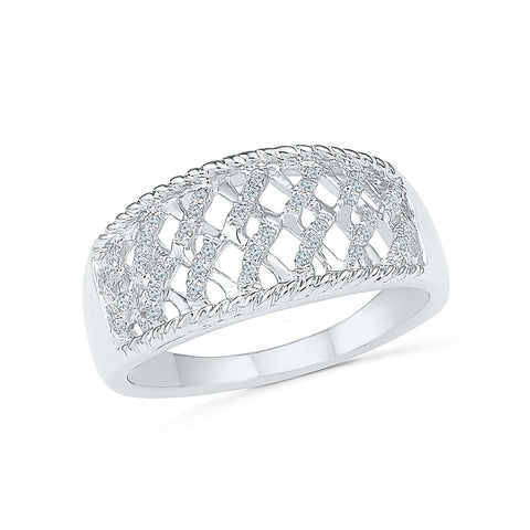 14kt / 18kt white and yellow gold Flashy Filigree Diamond Cocktail Ring for women online in Prong setting