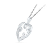 Heart Vineframe Diamond Silver Pendant