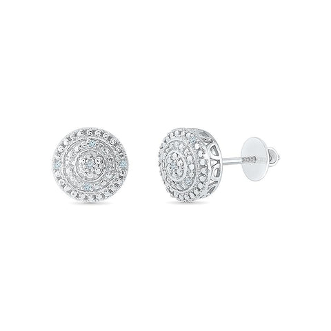 Exotic Diamond Cluster Stud Earrings in 92.5 Sterling Silver for women online