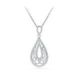 Delicate Decorative Teardrop Diamond Pendant in 14k and 18k Gold online for women