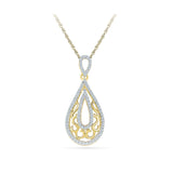 Delicate Decorative Teardrop Diamond Pendant