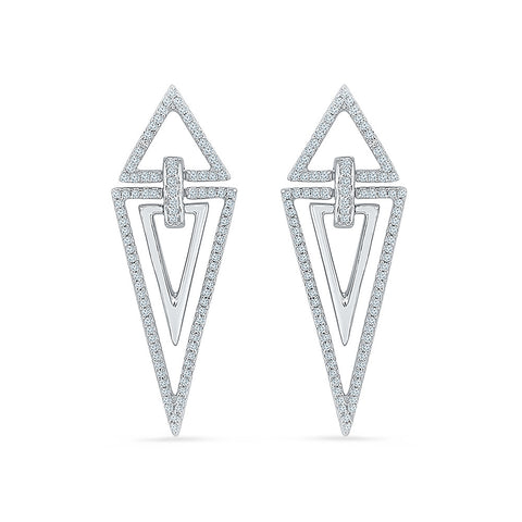 Geometric Classic Diamond Drop Earrings in 14k and 18k gold