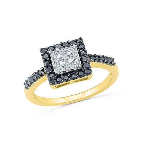 Beauteous Black And White Diamond Ring