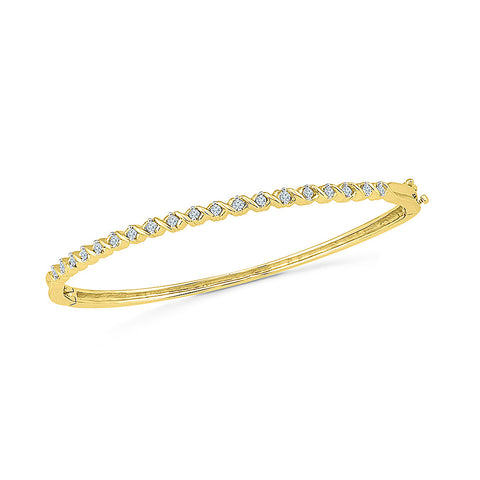 stunning daily wear diamond bangle for women  in white and yellow gold
