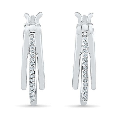 Royal Bloom Multi layered Diamond Hoop Earrings