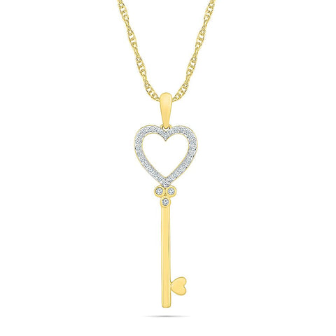 Open Heart Key Pendant