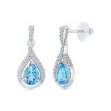 teardrop blue topaz diamond dangler earrings in gold for women