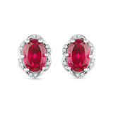 oval red ruby diamond stud earrings in gold for women