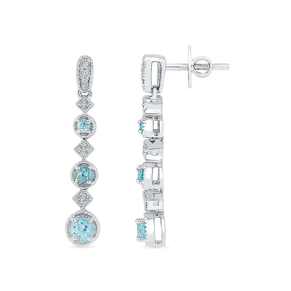 long aquamarine diamond dangler earrings in gold for women