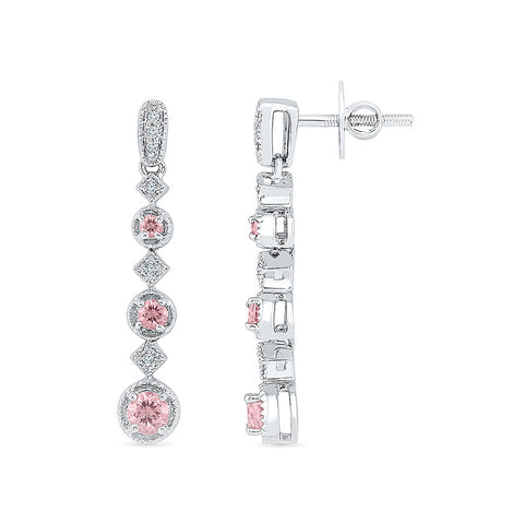 long pink sapphire diamond dangler earrings in gold for women