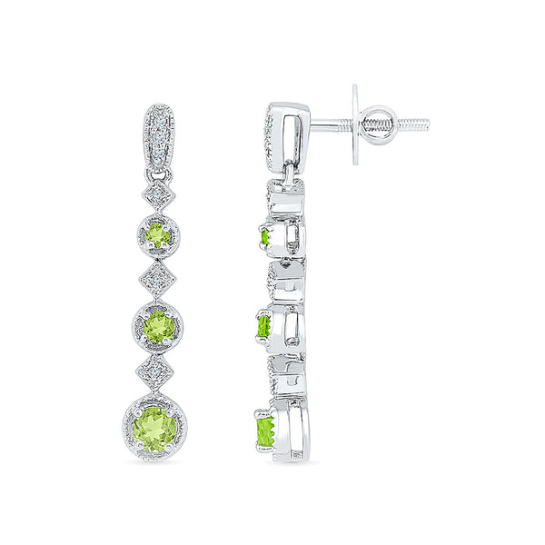 long peridot diamond dangler earrings in gold for women