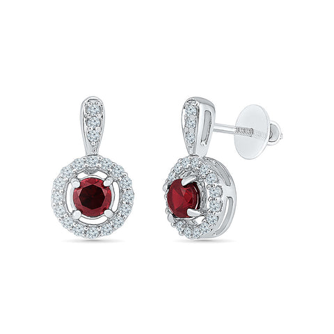halo red ruby diamond drop earrings in gold for women