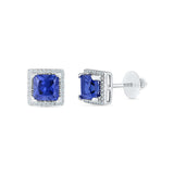princess cut blue sapphire diamond stud earrings in gold for women