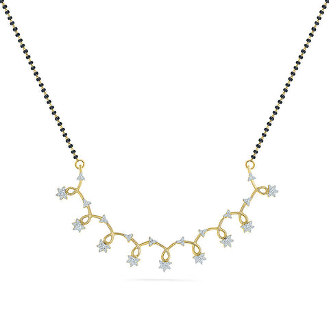 Inter-locked Dropping Stars Diamond Mangalsutra