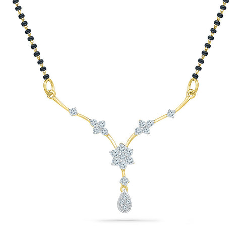 Center Floral Diamond Mangalsutra