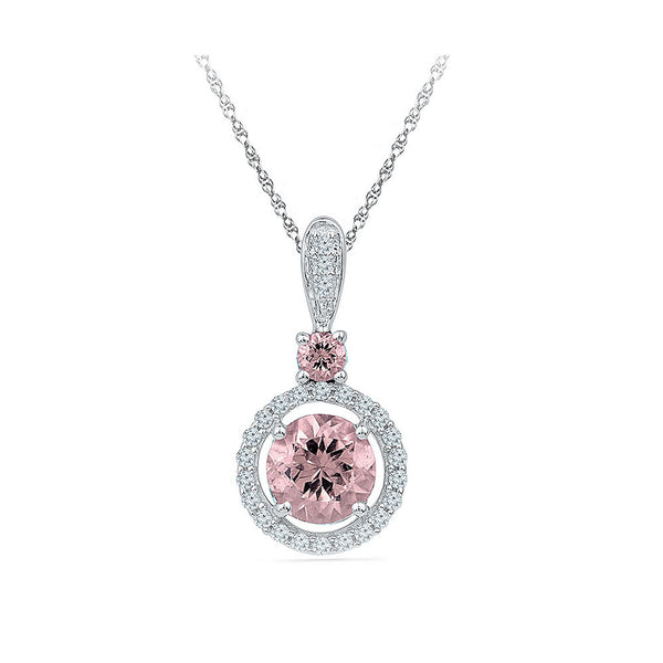 round morganite diamond pendant in gold for women