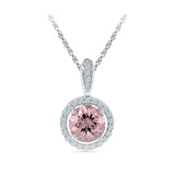 halo morganite diamond pendant in gold for women