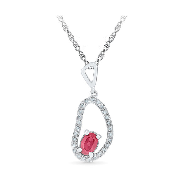uniquely shaped ruby diamond pendant in gold for women