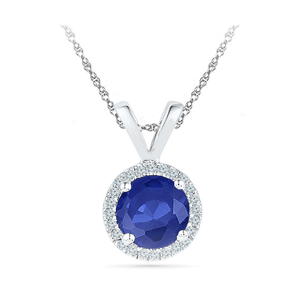 round blue sapphire diamond pendant in gold for women