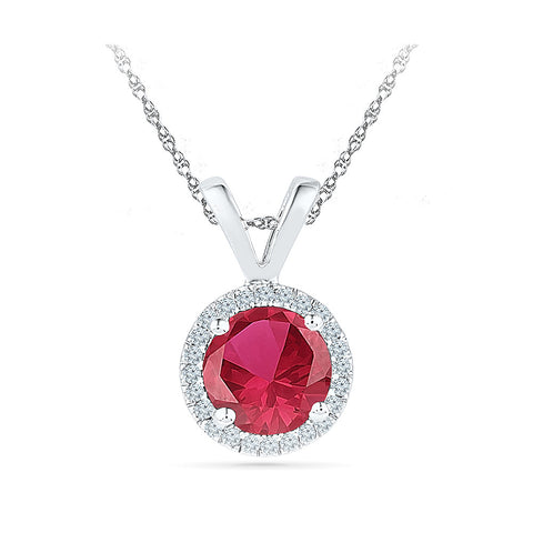 round red ruby diamond pendant in gold for women