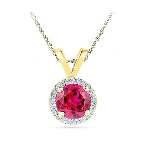 Blooming Ruby Halo Pendant