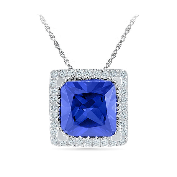 princess cut blue sapphire diamond pendant in gold for women