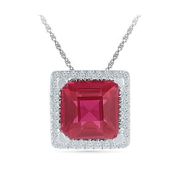 square red ruby diamond pendant in gold for women