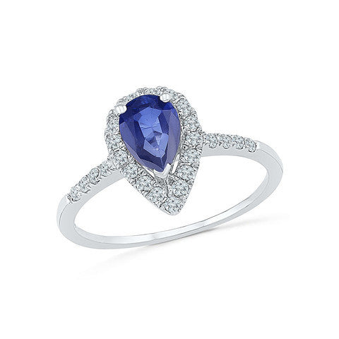 Beautiful pear shaped Blue Sapphire cocktail ring