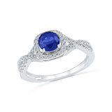 round cut blue sapphire diamond cocktail ring in gold for women