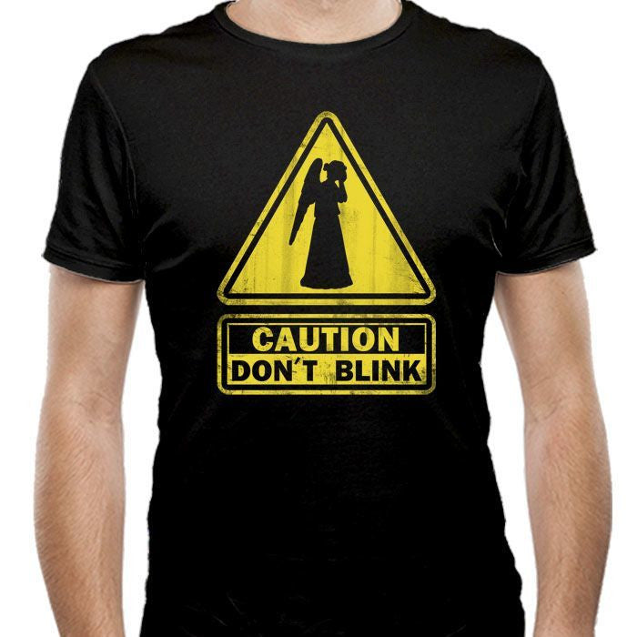 Caution: Don't Blink - Men's Fitted T-Shirt
