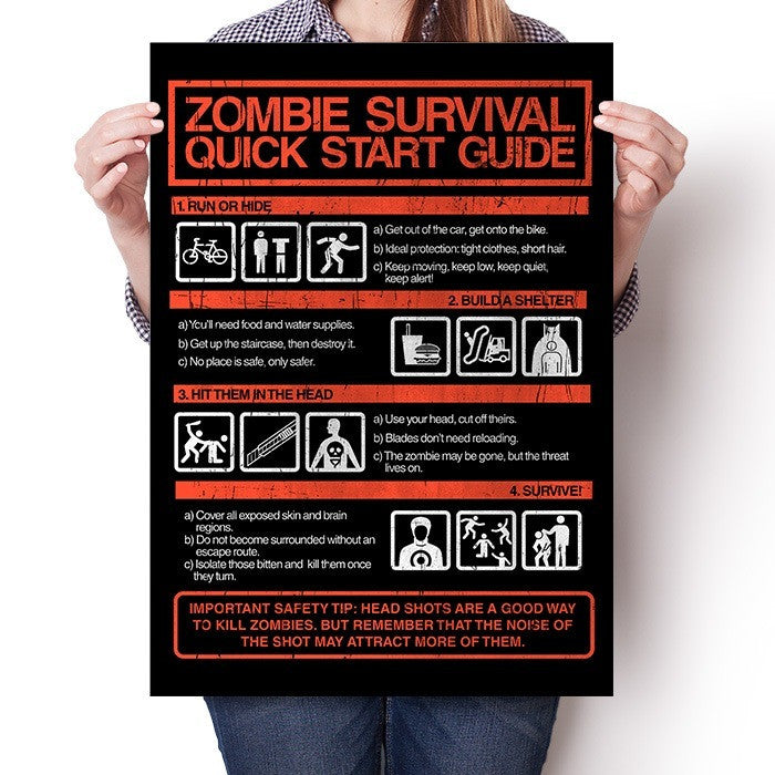 Zombie Survival Quick Start Guide (Dark) - Poster